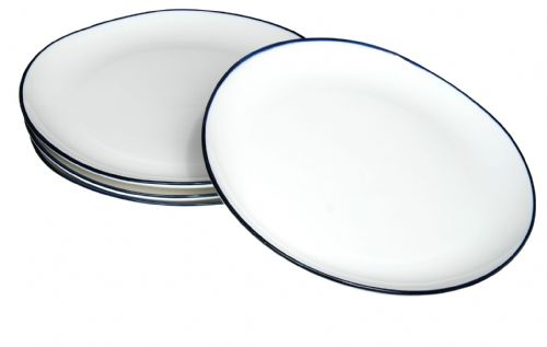 Blue rim Ocean Wave White ceramic large plates 26cm X 4